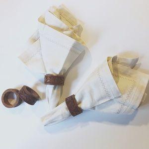 Vintage Boho Cottagecore wooden floral napkinrings